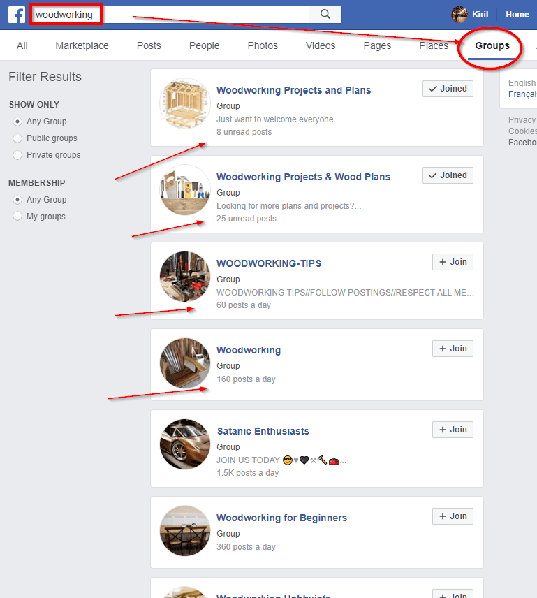 Join Facebook Groups for Your Niche - woodworking